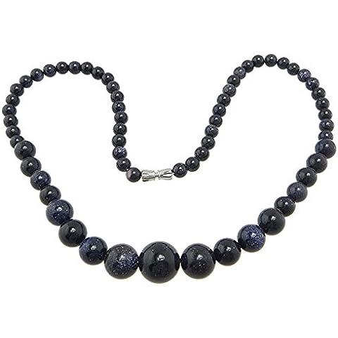 Collar de piedras preciosas joyas, arena dorada azul, natural, esférico, 6-14mm