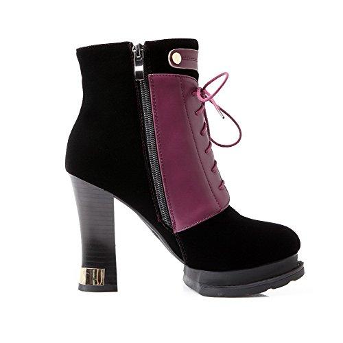 VogueZone009 Damen Gemischte Farbe Hoher Absatz Schnüren Rund Zehe Stiefel mit Knoten, Schwarz, 38