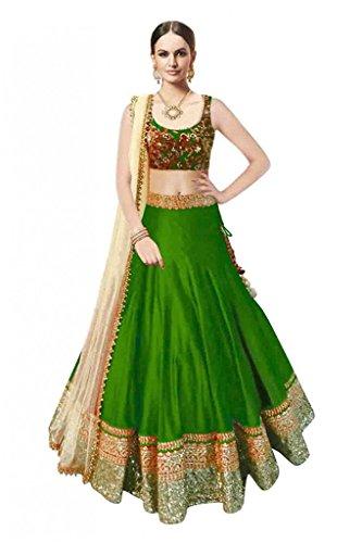 Varona Creation Festive Special Women's Lehenga Choli (Color: Green Free Size)