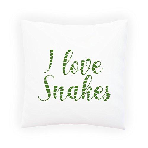 Ich liebe Schlangen lustige Neuheit Dekoratives Kissen, Kissenbezug mit Einlage/Füllung oder ohne, 45x45cm d247p (Ich Liebe Schlangen)