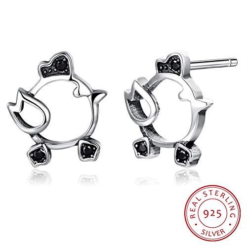 GQUB 925 Sterling Silber Klassischen Stil Küken Form Ohrstecker Für Frauen Jahrestag Schmuck Nette Muttertagsgeschenk