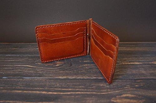 Leder Geld Geldbörse mit 8 Taschen. Großzügige und schlanke Brieftasche für Bargeld, Karten, Dokumente