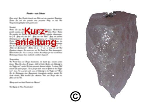 PENDEL/RUTE/RADIÄSTHESIE: Roh-Edelsteinpendel aus Rosenquarz mit Kurzanleitung