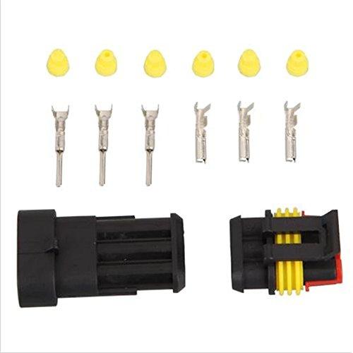 Preisvergleich Produktbild Stromkabel-Anschluss, 5Sets, 3-polig, AMP, wasserdicht, Stecker für KFZ