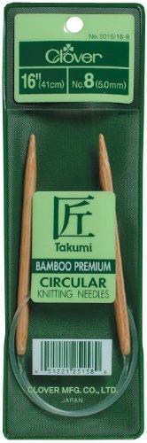 Clover Takumi Stricknadeln Bambus Rundstricknadeln 16-inchsize 5/3.75mm, andere, Mehrfarbig - Takumi Clover-stricknadeln