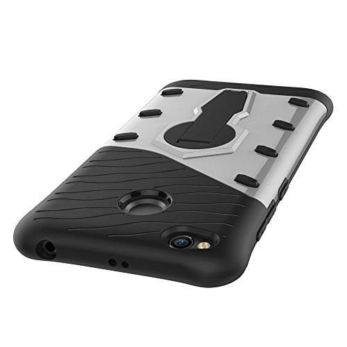 Shock-resistenter 360 Grad Spin Sniper Hybrid Case TPU + PC Kombi-Gehäuse mit Halter für Xiaomi Redmi 4X by diebelleu ( Color : Blue ) Silver