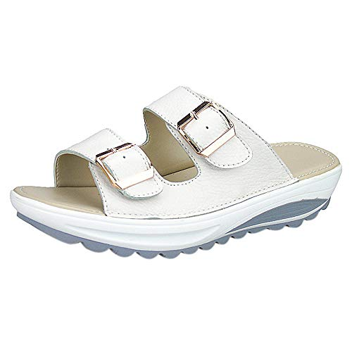 KonJin Flip Flops for Women Popular Summer Casual Sandals Beach Slipper Peep Toe Platform Soft Shoes (Sneakers Platform Studded)
