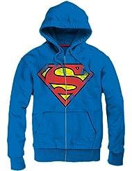 Sweat-Shirt Superman à capuche Zippé Vintage Logo Bleu
