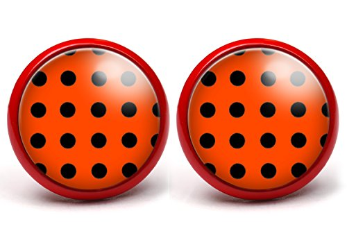LA FABA Polka Dots Ohrstecker Polka Punkte schwarz auf rot, Ohrringe gepunktet, Ø 14 mm Durchmesser, Rockabilly Schmuck Accessoire in Schmuckschachtel Etui (PP SaufR - rot)