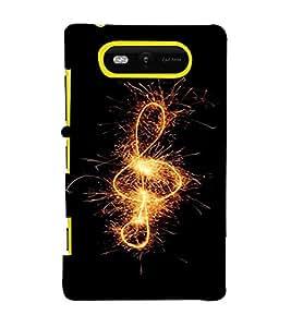 PrintVisa Music Note Fireworks Design 3D Hard Polycarbonate Designer Back Case Cover for Nokia Lumia 820