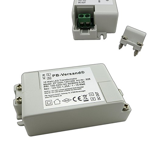 LED Leuchmittel Trafo 12V DC 0,5-15 Watt Gleichspannung Netzteil Treiber Transformator Driver Niedervolt LED-Transformator klein & flach - ohne Mindestlast (Trafo 15W mini)