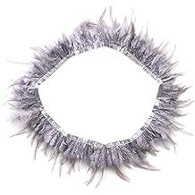 1Yardas Fleco de Plumas Recorte para Artesanía Costura Traje (gris)