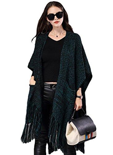 NiSeng Femme Longue Cardigan en Maille Poncho avec Houppe Decoration pour Hiver Cardigan Chaud Vert