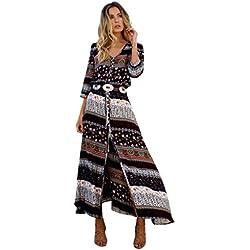 SHOBDW Vestido de Mujer Cóctel de Las Mujeres de Boho del Partido de Noche Largo del Vestido del Verano de la Playa Vestido V-Cuello de Tirantes (M, Marrón)