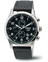 Boccia Reloj de hombre de cuarzo con Negro esfera analógica pantalla y correa de cuero negro B3755–01