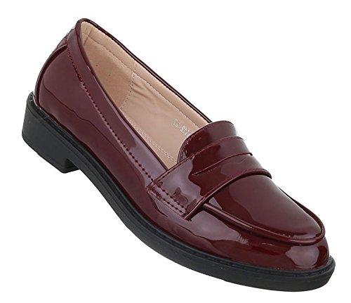 Damen Halbschuhe Schuhe Moderne Slipper Weinrot