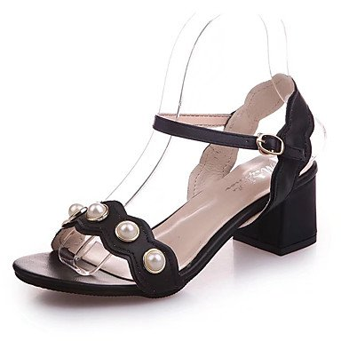 zhENfu Donna Sandali Comfort estivo Pu Outdoor blocco camminata tallone imitazione perla fibbia kaki bianco nero Black