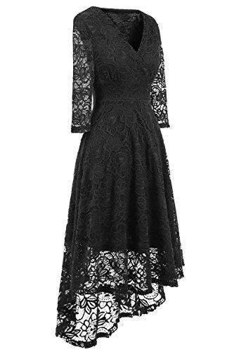 NALATI Vestito da partito del cocktail del merletto dell'alta vita di colore solido del manicotto dell'annata delle donne Nero