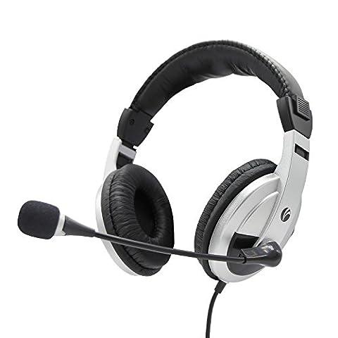 VCOM Écouteurs de musique avec microphone réglable et contrôle du volume Annulation de bruit sur l'oreille Jeux stéréo Business Office Skype Casque léger pour ordinateur de bureau Xbox PC portable -Noir