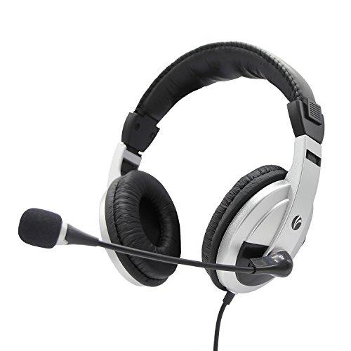 PC Headsets, VCOM Computer Musik Headsets mit einstellbarem Mikrofon und Lautstärkeregler Rauschen Isolating Over Ear Stereo Gaming Business Office Skype Leichtes Kopfhörer für Xbox One Desktop Computer PC Laptop-Schwarz