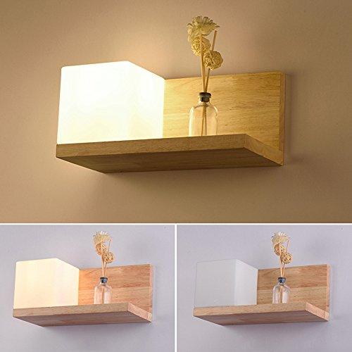 ELINKUME Lampe Murale en Bois Applique Murale Style Simpe pour Chevet Salon Escalier Couloir E27 BASE Wall Lamp (B)