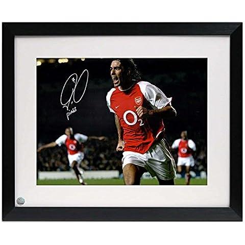 Enmarcado Robert Pires Firmado Arsenal Foto: Celebración de la meta