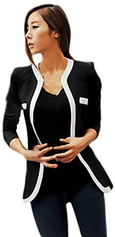 Y-BOA OL Femme Blazer Col V Veste Tailleur Slim Jacket Décontracté Manche Longue (Size3, Noir)