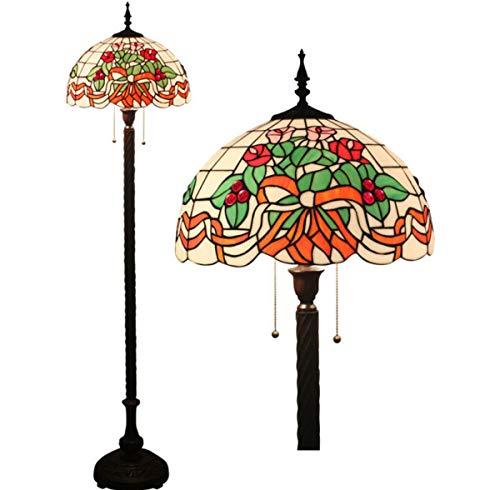 Floral Vintage Stehlampe (Tiffany Style Rose Stehleuchte Vintage Floral Glasmalerei Pull Chain 2-Light Reading Stehleuchte für Schlafzimmer Wohnzimmer, 63 Zoll hoch)