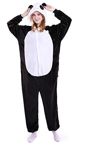 Tuopuda Tier Pyjamas Erwachsene Unisex Onesie Jumpsuits Cosplay Kostüme Tieroutfit Tierkostüme Halloween Schlafanzug (L ( 168-177 cm height ), schwarzer panda)