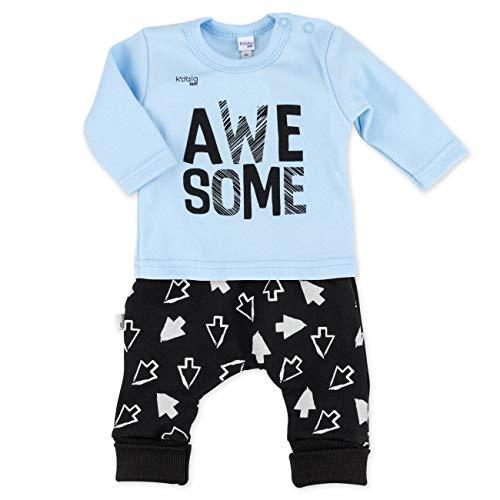 Koala Baby Set Hose und Shirt Juungen blau schwarz   Motiv: Awesome   Baby Outfit mit Pfeile-Print für Neugeborene & Kleinkinder   Größe: 1 Monat (56) -