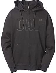 Caterpillar Mens Applique Full Zipped Hooded Sweatshirt Hoodie Grey