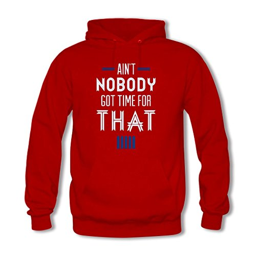 HGLee Printed Personalized Custom Ain't Nobody Got Time For That Women's Hoodie Hooded Sweatshirt Red