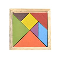 FairytaleMM Tangram Wooden Color Diy Puzzle Jigsaw Puzzle Building Blocks Puzzle Toys Children