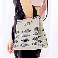 JxucTo Lunch Bento Bag Lunch Handbag Portable Cartoon Pattern Bolsa de Almuerzo al Aire Libre-Gris Bolsa de Picnic