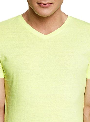 oodji Ultra Herren Tagless T-Shirt Basic mit V-Ausschnitt Gelb (5100Y)