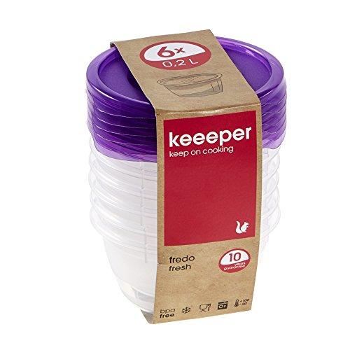 keeeper Frischhaltedosenset 6-teilig, 6 x 200 ml, Ø 9,5 x 5 cm, Fredo Fresh, Lila Transparent