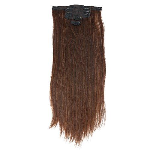 Msbeauty 40,6 x 50,8 cm de cheveux lisses à clip dans Remy Extensions de cheveux humains Couleur # 613 Blond clair Eau de Javel Lot de 6 poids 70 g