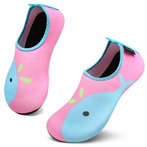 Unisex Kinder Aquaschuhe Schnell Trocknend Schwimmschuhe Slip On Breathable Wasserschuhe Rutschfeste Beach Shoes,Delphin Rosa,34/35 Beach Slip On