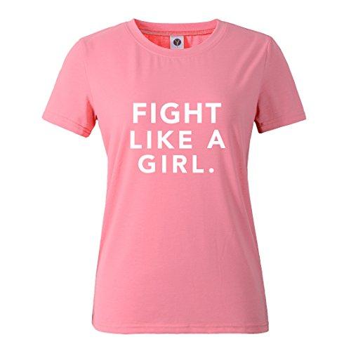 BLACKMYTH Mujer Casual Camisetas para Estampar Redondo Graphic Tees Manga Corta Señoras T-Shirt Rosa Large
