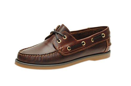 Jim Boomba Lady's Boat Shoes Segelschuhe Mokassins Bootsschuhe aus echtem Leder in Mahogany-Braun