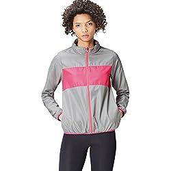 Activewear Chaqueta Shell Cortavientos para Mujer, Gris Moyen / Fucsia, 42 (Talla del Fabricante: Large)