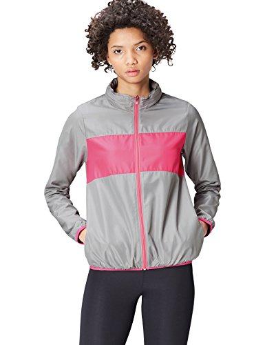 FIND Sportjacke Damen versteckbare Kapuze Colour Blocking, Mittelgrau/ Pink, 38 (Herstellergröße: Medium)