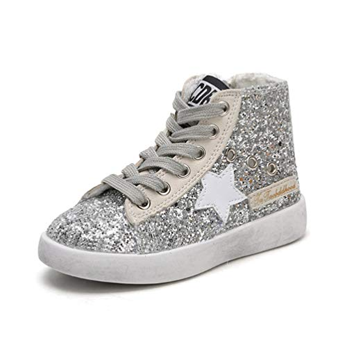 Qianliuk Bambini Star Star Glitter High Top Scarpe Casual Ragazza Casual Toddler Kid Fashion Sport Shoe