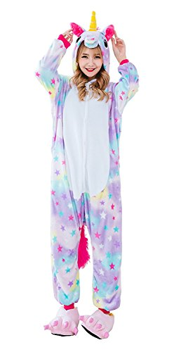 Kigurumi Pyjamas Einhorn Pegasus Erwachsene Unisex Animal Cosplay Overall Pajamas Anime Schlafanzug Jumpsuits Spielanzug Kostüme (Medium, Sterne Einhorn Pegasus)