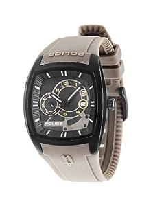 Police PL.93542AEU/02A - Reloj de cuarzo para hombres con esfera negra y correa gris de silicona de Police