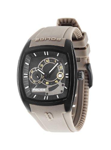 Police PL.93542AEU/02A - Reloj de cuarzo para hombres con esfera negra y correa gris de silicona