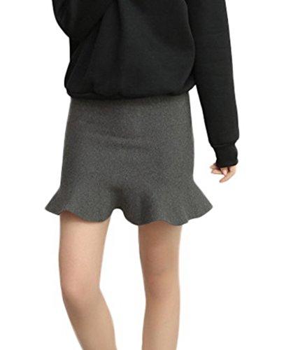 Bigood Jupe Courte Femme Tricot Mini-jupe Portefeuille Moulant Elégant Gris