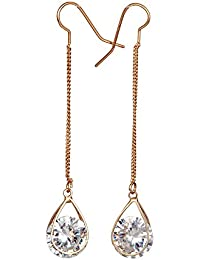 THE BLING STUDIO -Diamond Chain Drop Long Earrings (BS7E16G)
