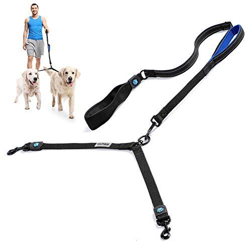 YOUTHINK Doppio Guinzaglio per Cani, Regolabile per Due Cani Guinzaglio,1 Controllo a Strisce e Borsa Tascabile, Ideale per Cinturino da Allenamento per Camminare. (Black-03)