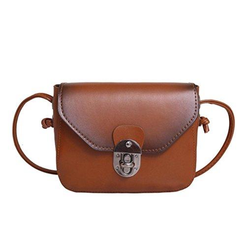 Jamicy Delle ragazze delle donne borsa di cuoio casuale borsa Crossbody Borsa a tracolla Marrone